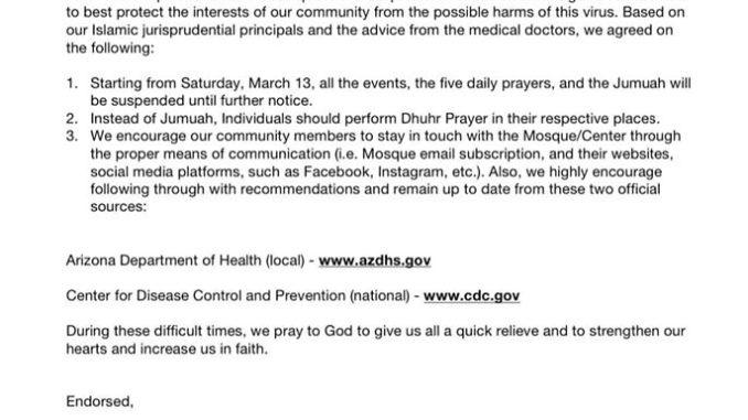 Joint Statement from the Arizona Islamic CentersMosques Regarding the Global Coronavirus Pandemic