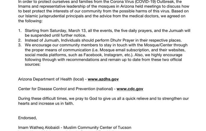 Joint Statement from the Arizona Islamic CentersMosques Regarding the Global Coronavirus Pandemic